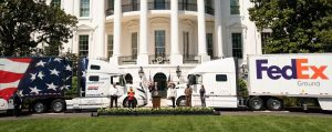 President Trump and Transportation Secretary Elaine Chao celebrate America's truckers on the White House's South Lawn - April 16, 2020